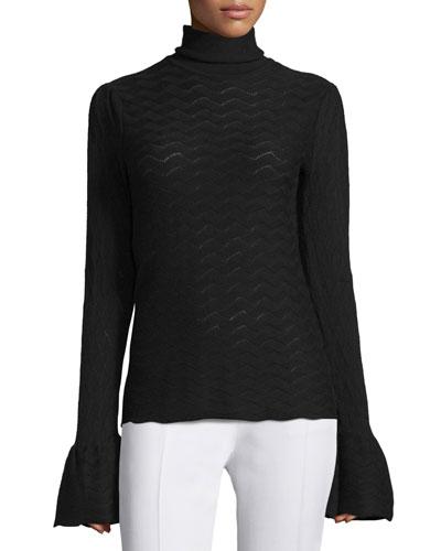 Pointelle-Knit Bell-Sleeve Turtleneck Sweater, Black