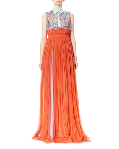 Embroidered Pleated Tulle Shirt Gown, Emberglow