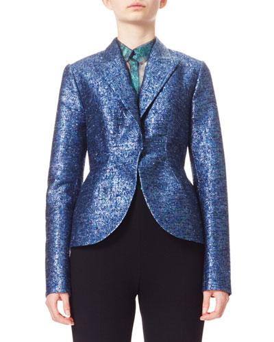 Metallic Jacquard Tweed Jacket, Blue