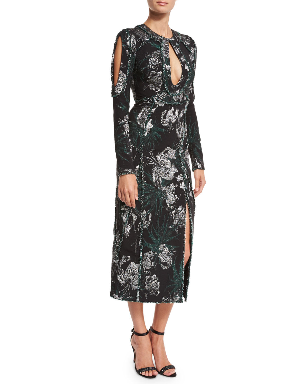 Chrissy Long-Sleeve Cutout Midi Cocktail Dress, Black/Silver