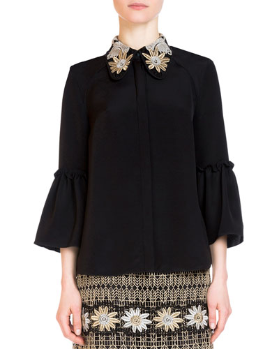 Alita Embroidered 3/4-Sleeve Top, Gold/Silver