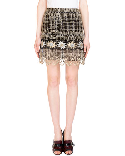 Mari Metallic Embroidered Mini Skirt, Gold
