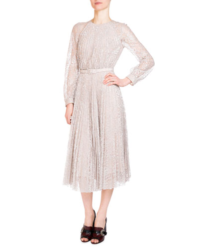 Rhona Long-Sleeve Pleated Lace Midi Dress, Silver