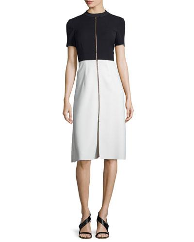 Short-Sleeve Bicolor Zip-Front Dress, Black/White