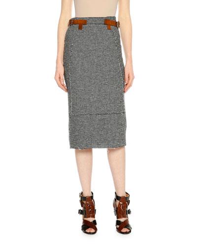 High-Waist Tweed Pencil Skirt, Black/Chalk