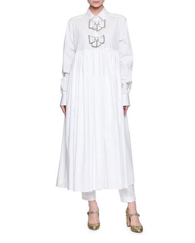 Bow-Tie Long-Sleeve Cotton Tunic Dress, White