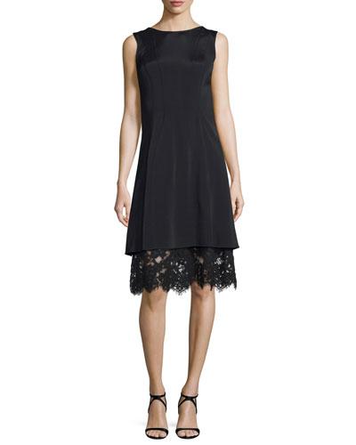 Sleeveless Satin Dress w/Lace Underlay, Black