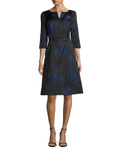 3/4-Sleeve Floral Jacquard A-Line Dress, Cobalt