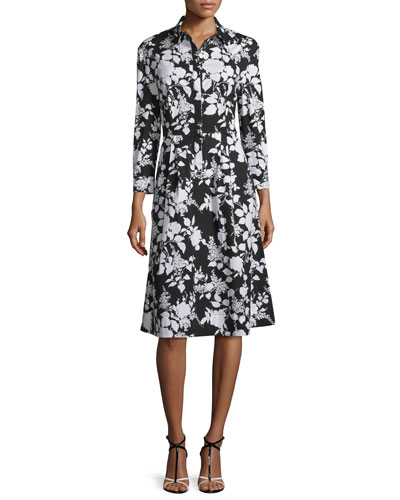 Bracelet-Sleeve Rosebush-Print Shirtdress, Black/White