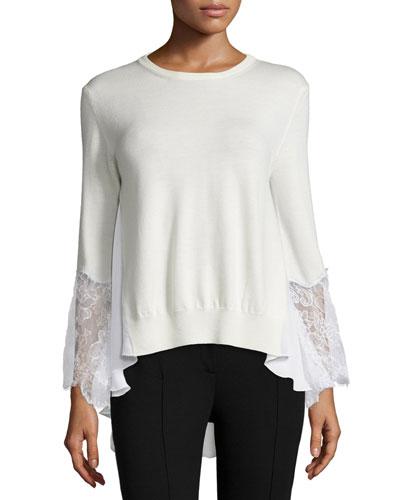 Lace-Trim Wool Sweater, White