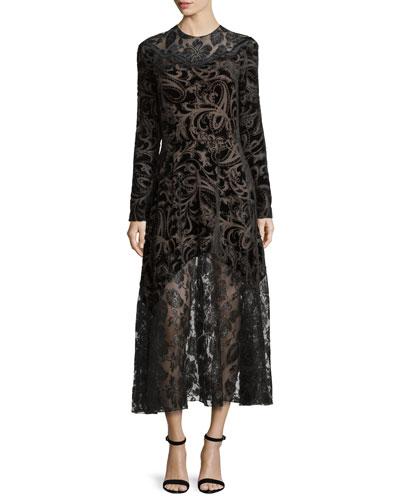 Long-Sleeve Devoré & Lace Dress, Black (Noir)