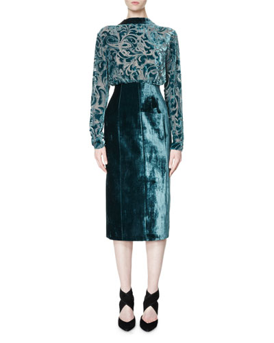 Long-Sleeve Velvet Devoré Combo Dress