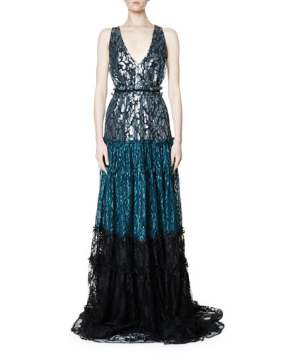 Sleeveless Tricolor Lace Gown, Black/Multi