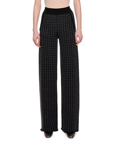 Windowpane-Check Wide-Leg Pants, Black/Gray