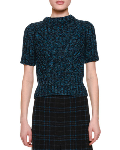 Short-Sleeve Knit Crewneck Sweater, Peacock Blue