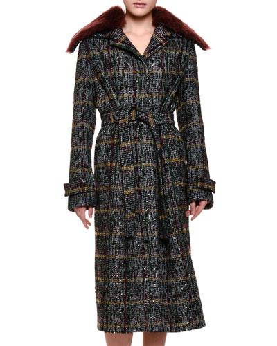Plaid Topcoat w/Shearling Fur Collar, Black/Green/Burgundy