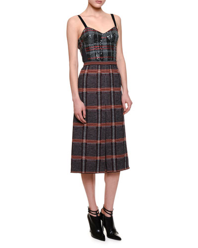 Sleeveless Plaid Midi Dress w/Sequined Bustier, Black/Red/White