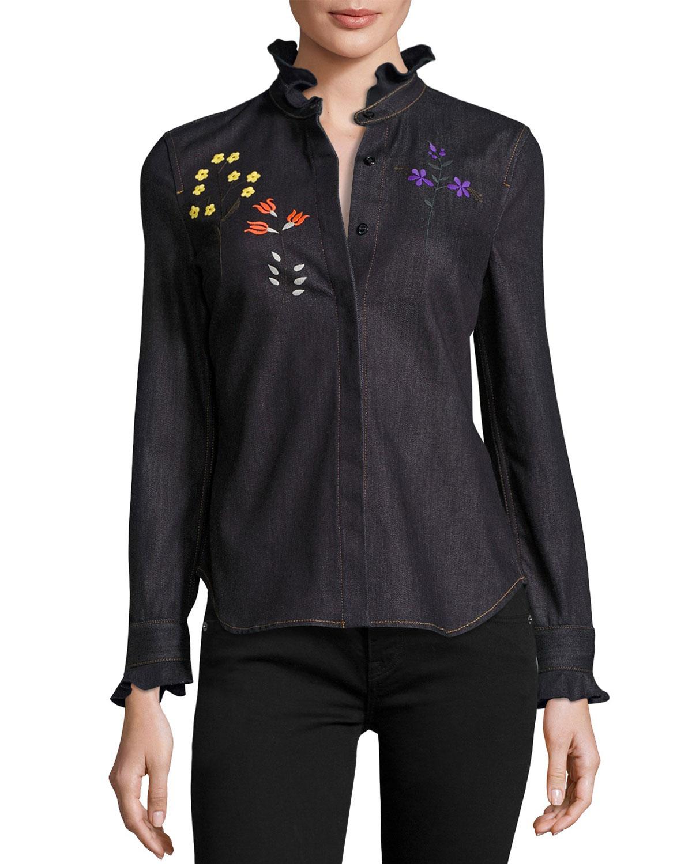 Floral-Embroidered Denim Blouse