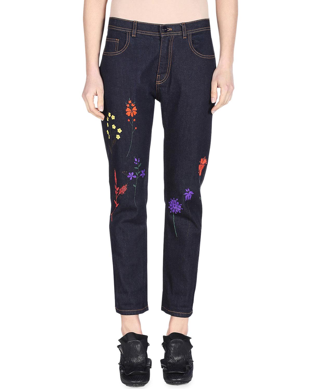 Floral-Embroidered Denim Jeans, Blue