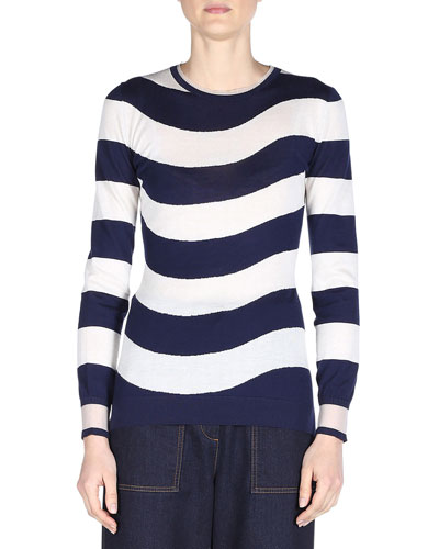 Wave-Striped Knit Sweater, Navy/White