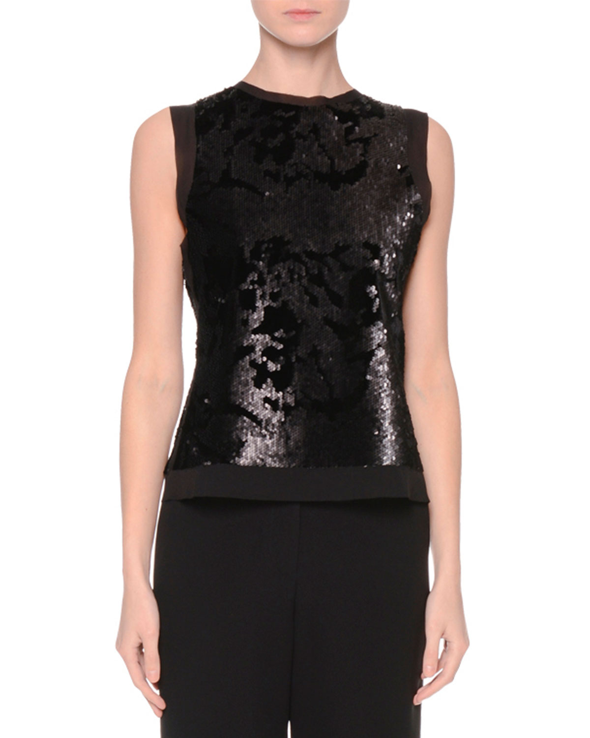 Sleeveless Sequined Jersey Top, Black