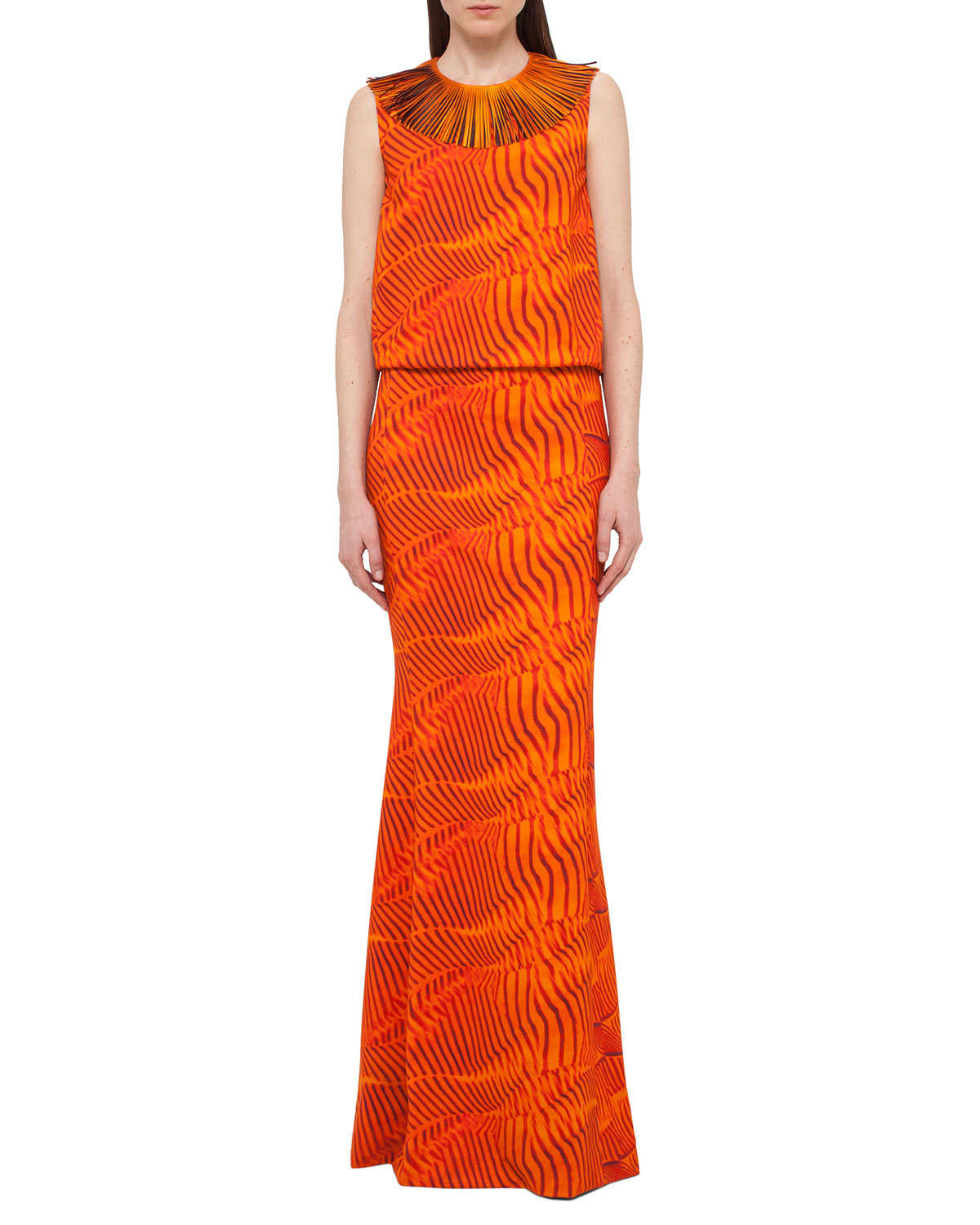 Zebra-Print Fringe-Collar Gown, Orange