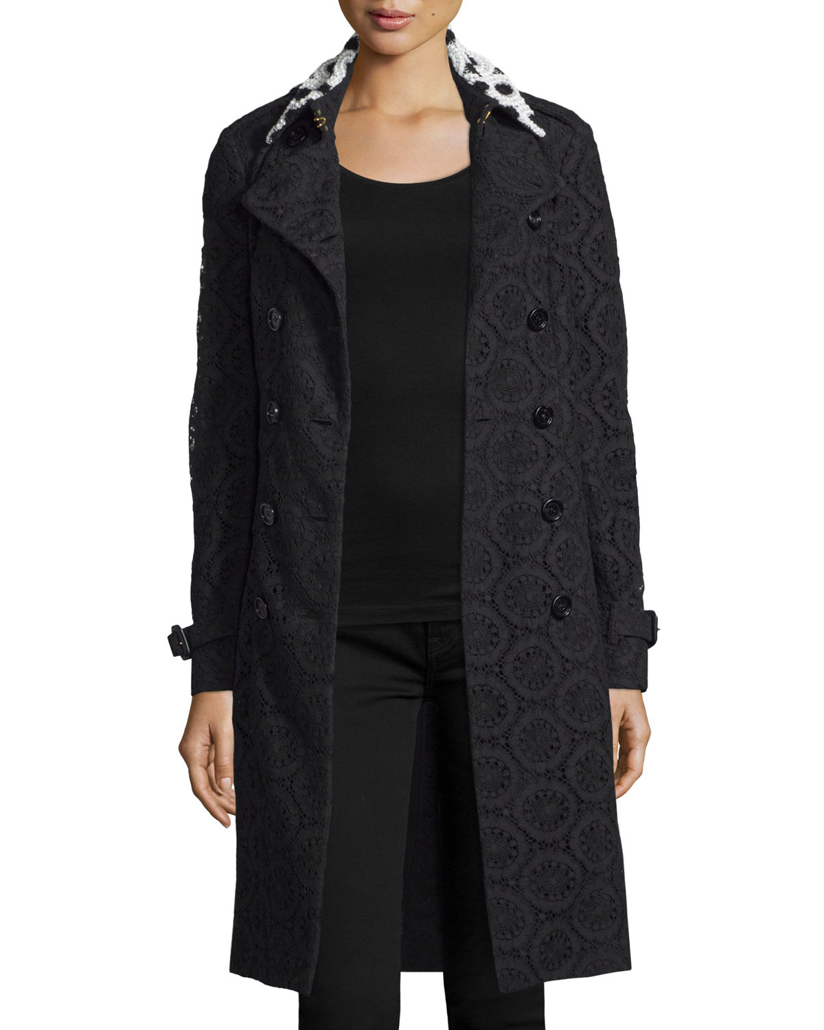 Macrame Lace Trenchcoat with Contrast Collar, Black