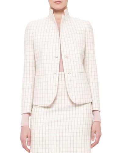 Fairy Plaid Two-Button Jacket, Pelican/Flamingo