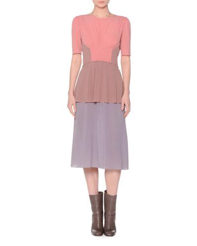 Short-Sleeve Colorblock Dress, Pale Coral/Mauve