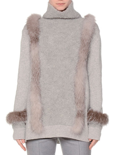 Turtleneck Sweater W/Fur Trim, Gray/Blue Frost