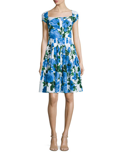 Lauren Floral-Print Cap-Sleeve Dress, Cobalt