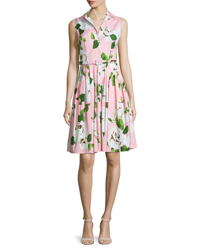Claire Floral-Print Sleeveless Shirtdress, Soft Rose
