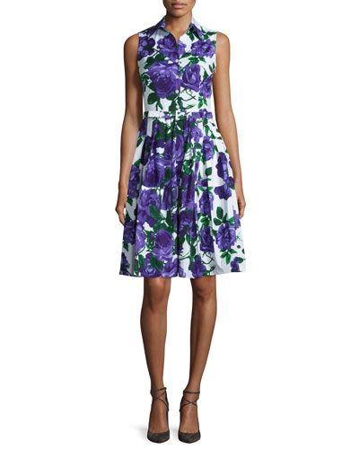 Claire Floral-Print Sleeveless Shirtdress, Soft Lilac