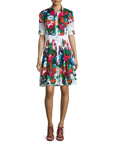 Audrey Floral-Print Half-Sleeve Shirtdress, White