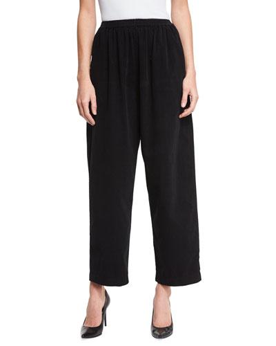 Long Wide-Leg Trousers, Black