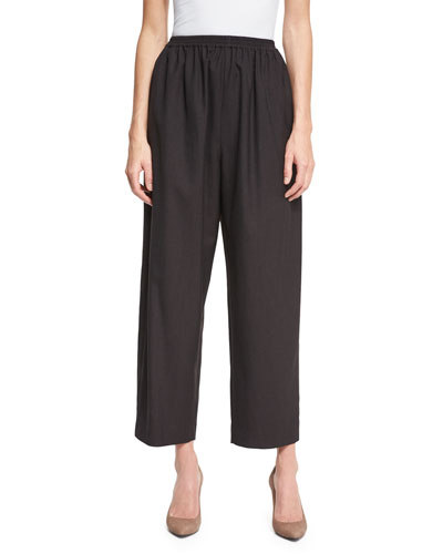 Cropped Wide-Leg Trousers, Brown