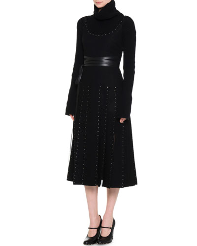 Scoop-Neck Crystal-Embellished Dress, Black