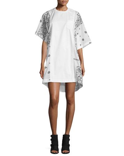 Bandana-Print Asymmetric Dress, Black