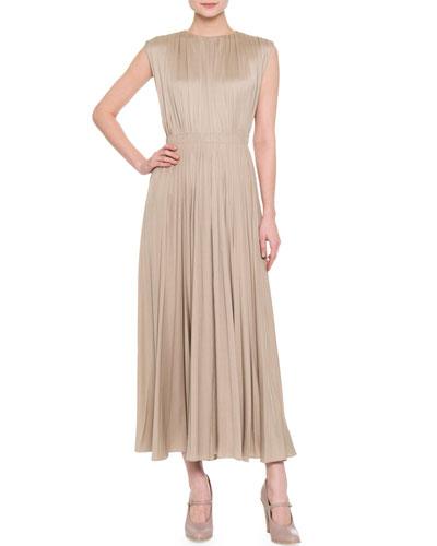 Sleeveless Plisse Open-Back Midi Dress, Soft Beige