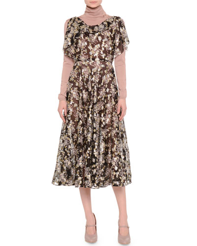 Flutter-Sleeve Fil Coupe Dress, Black/Gold