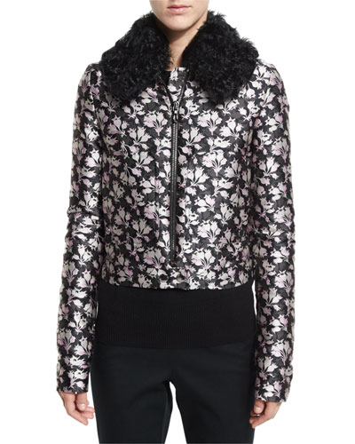 Jacquard Bomber Jacket w/Shearling Fur Collar, Pink/Gray