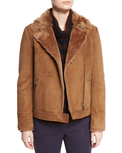 Wigan Shearling Fur-Lined Coat, Dark Calvados