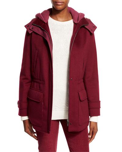 Everett Cashmere Storm System Jacket, Raspberry Cream