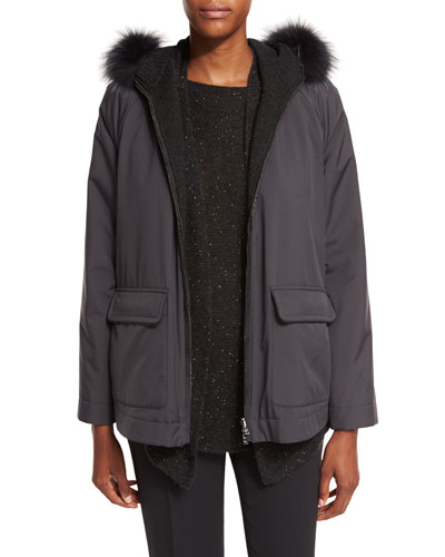 Dayton Storm System Jacket w/Fur Collar, Black
