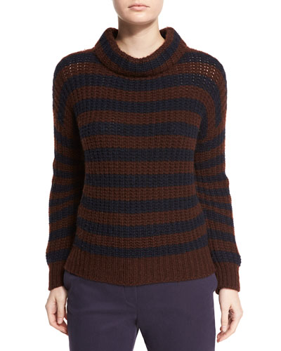 Rigato Striped Knit Turtleneck Sweater, Dark Blue