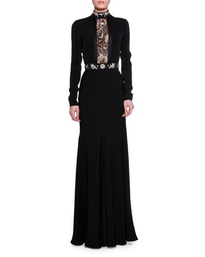 Crystal Obsession Mock-Neck Velvet Gown, Black