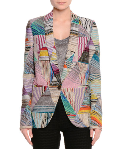 Optical Patchwork One-Button Jacket, Multi