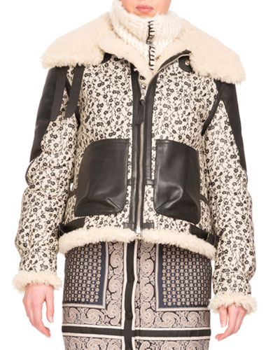 Shearling Fur-Lined Floral-Print Coat, Black/White