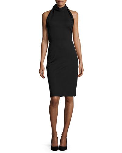 Backless Mock-Neck Halter Dress, Black