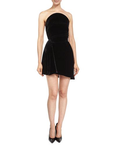 Strapless Velvet Cocktail Dress, Black